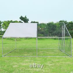 13' x 13' Large Outdoor Dog Kennel Animal Pen Galvanized Steel Fence with Roof