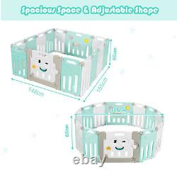 14 Panel Baby Playpen Kids Foldable Safety Zone Fence Play Yard withLock Door