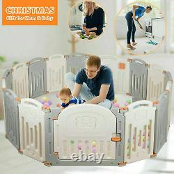 16 Panel Baby Playpen HDPE Large Foldable Kids Play Yard Fence Gift Home Garden