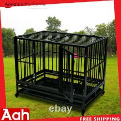 42 Heavy Duty Dog Cage Crate Kennel Metal Pet Playpen Portable withTray & Wheels