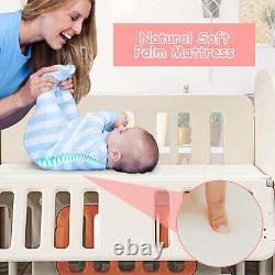 Baby 6-In-1 Cot Bed Infant Bedside Bassinet Playpen Rocking Crib With Rollers