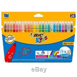 Bic Kids Kid Couleur Pack Of 24 Washable Colour Medium Felt Tip Colouring Pens