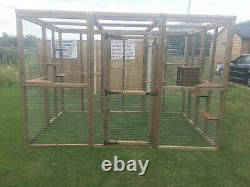 Cat House/ Play Pen Free Standing Cat Safe Enclosure Ladders And Shelves 6x9ft
