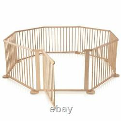 Child Baby Children Kid Wooden Playpen Play Pen Room Divider 8 Sided With Gate