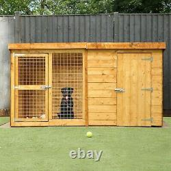 DOG KENNEL RUN WOODEN OUTSIDE GARDEN HOUND HOUSE LARGE PEN SIZES 8x4 10x4 12x4