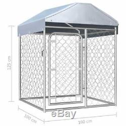 Galvanised Steel Outdoor Dog Kennel with Roof Pet House Enclosure Run Cage Playpen