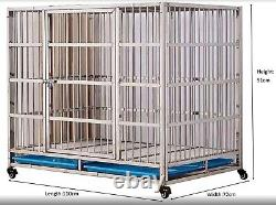 HERCULES HEAVY DUTY X LARGE DOG CAGE CRATE STAINLESS STEEL PEN 110 x 72 x 91cm
