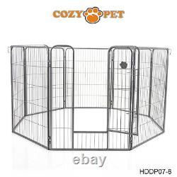 Heavy Duty Cozy Pet Puppy Playpen 1m High 8 Panel Run Crate Pen Welping Dog Cage