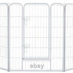 Heavy Duty Metal 8 Panel Puppy Dog Pen Pet Playpen for Small Animals White 100cm