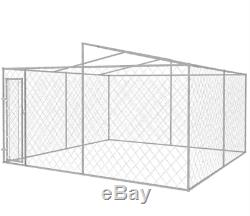 Large Dog Kennel and Run Outdoor Pet Cage Canopy Roof Metal Garden Pen House