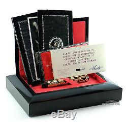 Montegrappa 1995 Dragon LE Gold FP & Silver FP Matching # Set with Inkwells
