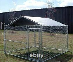 Outdoor Dog Kennel Cover 10 x 10 Large Steel Roof Pen Cage Fence Shade Exercise
