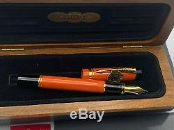 PARKER Duofold Centennial Orange SE Fountain Pen 18K Fine nib NEW Year 1990