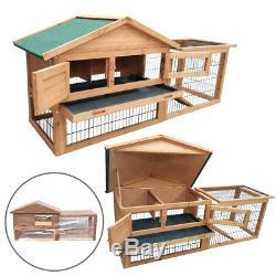 Rabbit Hutch With Run And Cover Pet House Pen Animal Guinea Pig Garden 2 Tier