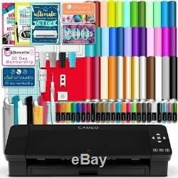 Silhouette Black Cameo 4 with 38 Oracal Sheets, Siser HTV, Guides, 24 Pens
