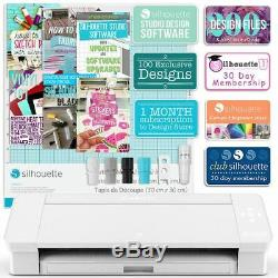 Silhouette White Cameo 4 with 38 Oracal Sheets, Siser HTV, Guides, 24 Pens